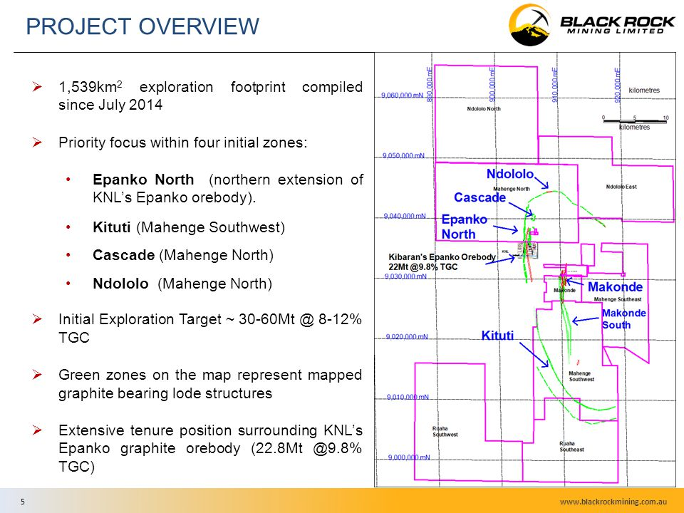 7  1,539km 2 exploration footprint compiled since July 2014  Priority focus within four initial zones: Epanko North (northern extension of KNL's Epanko orebody).
