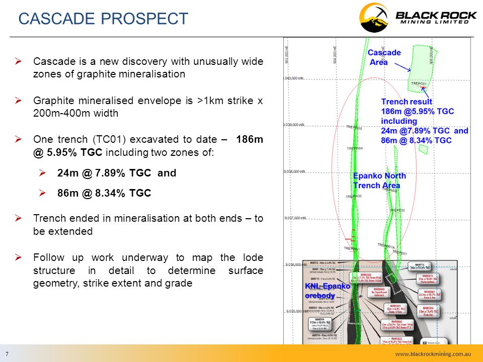 7  Cascade is a new discovery with unusually wide zones of graphite mineralisation  Graphite mineralised envelope is >1km strike x 200m-400m width  One trench (TC01) excavated to date – 186m @ 5.95% TGC including two zones of:  24m @ 7.89% TGC and  86m @ 8.34% TGC  Trench ended in mineralisation at both ends – to be extended  Follow up work underway to map the lode structure in detail to determine surface geometry, strike extent and grade CASCADE PROSPECT www.blackrockmining.com.au