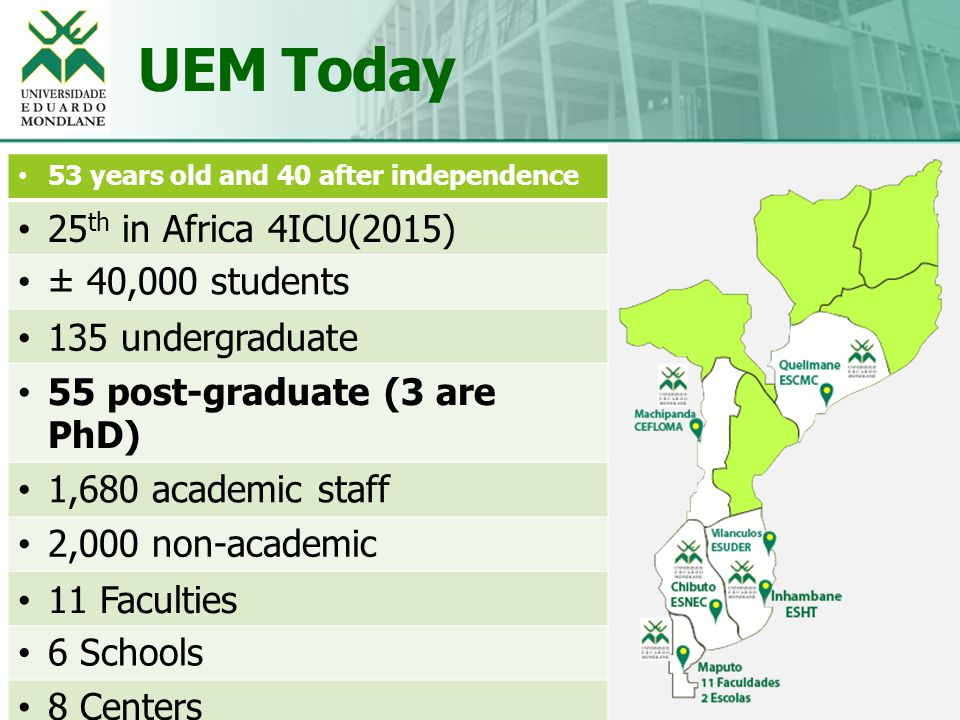 UEM Today 3 Educação, Excelência e Inovação 53 years old and 40 after independence 25 th in Africa 4ICU(2015) ± 40,000 students 135 undergraduate 55 post-graduate (3 are PhD) 1,680 academic staff 2,000 non-academic 11 Faculties 6 Schools 8 Centers