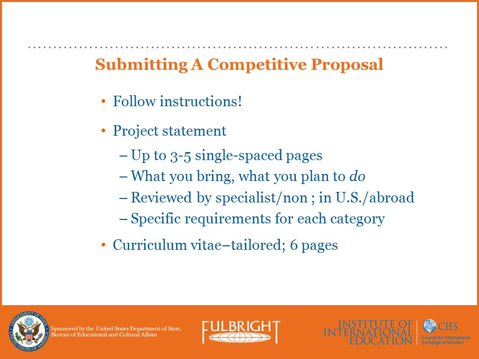 Submitting A Competitive Proposal Follow instructions.