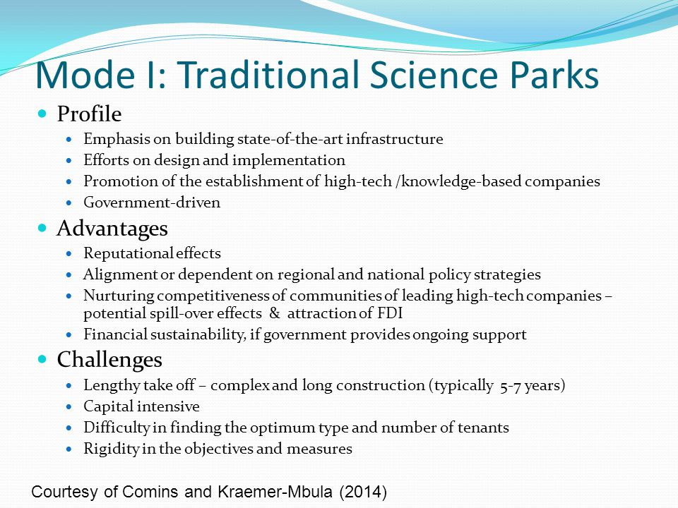 Mode I: Traditional Science Parks Profile Emphasis on building state-of-the-art infrastructure Efforts on design and implementation Promotion of the e