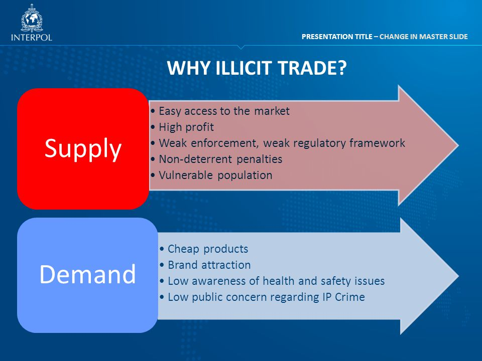 PRESENTATION TITLE – CHANGE IN MASTER SLIDE WHY ILLICIT TRADE? Easy access to the market High profit Weak enforcement, weak regulatory framework Non-d