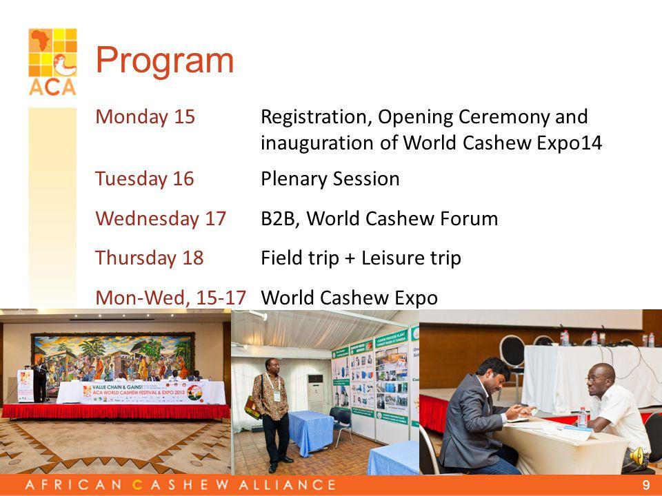 8 World Cashew Festival 2014 When. 15-18 September 2014 Where.
