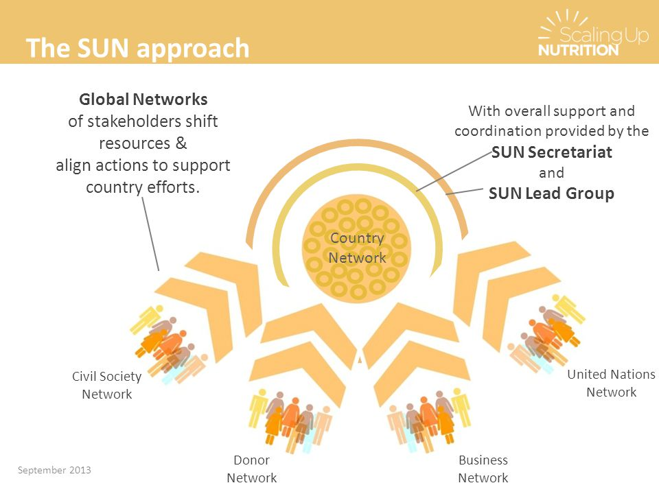 With overall support and coordination provided by the SUN Secretariat and SUN Lead Group Country Network Donor Network Civil Society Network Business