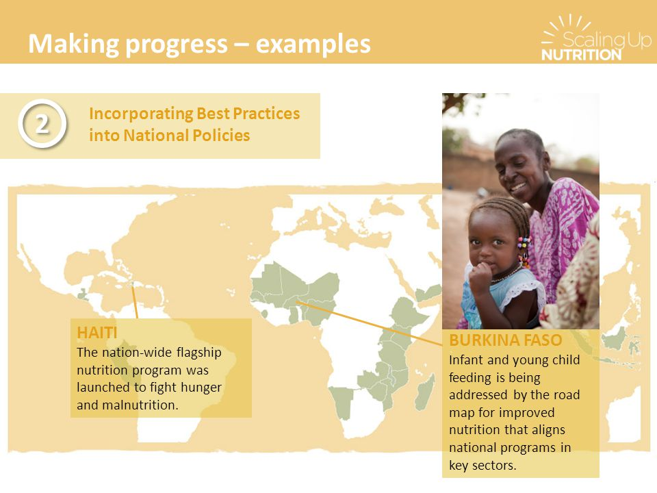 Making progress – examples Incorporating Best Practices into National Policies 2 2 BURKINA FASO Infant and young child feeding is being addressed by t