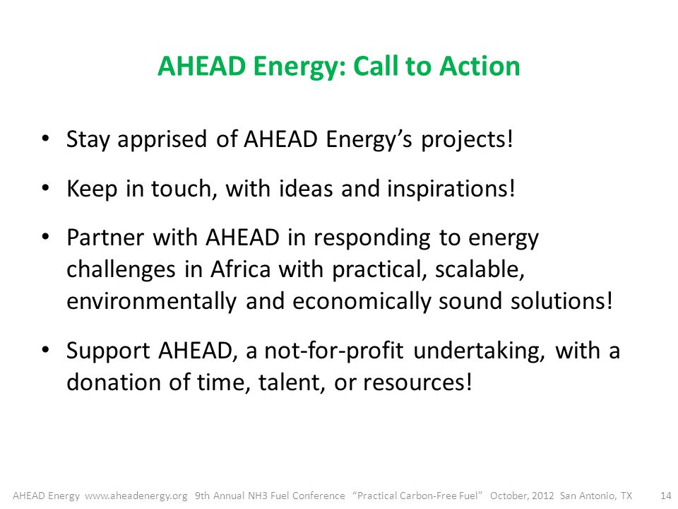 AHEAD Energy: Call to Action Stay apprised of AHEAD Energy's projects.