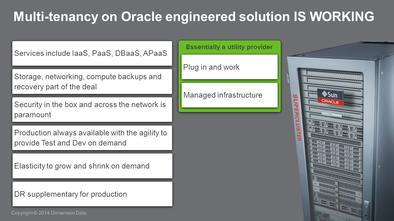 Copyright © 2014 Dimension Data Multi-tenancy on Oracle engineered solution IS WORKING Services include IaaS, PaaS, DBaaS, APaaS Storage, networking, compute backups and recovery part of the deal Security in the box and across the network is paramount Production always available with the agility to provide Test and Dev on demand Elasticity to grow and shrink on demand DR supplementary for production Essentially a utility provider Plug in and work Managed infrastructure
