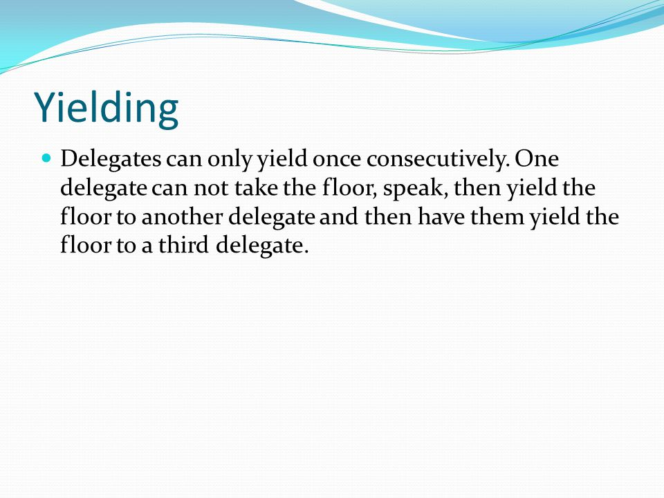 Yielding Delegates can only yield once consecutively.