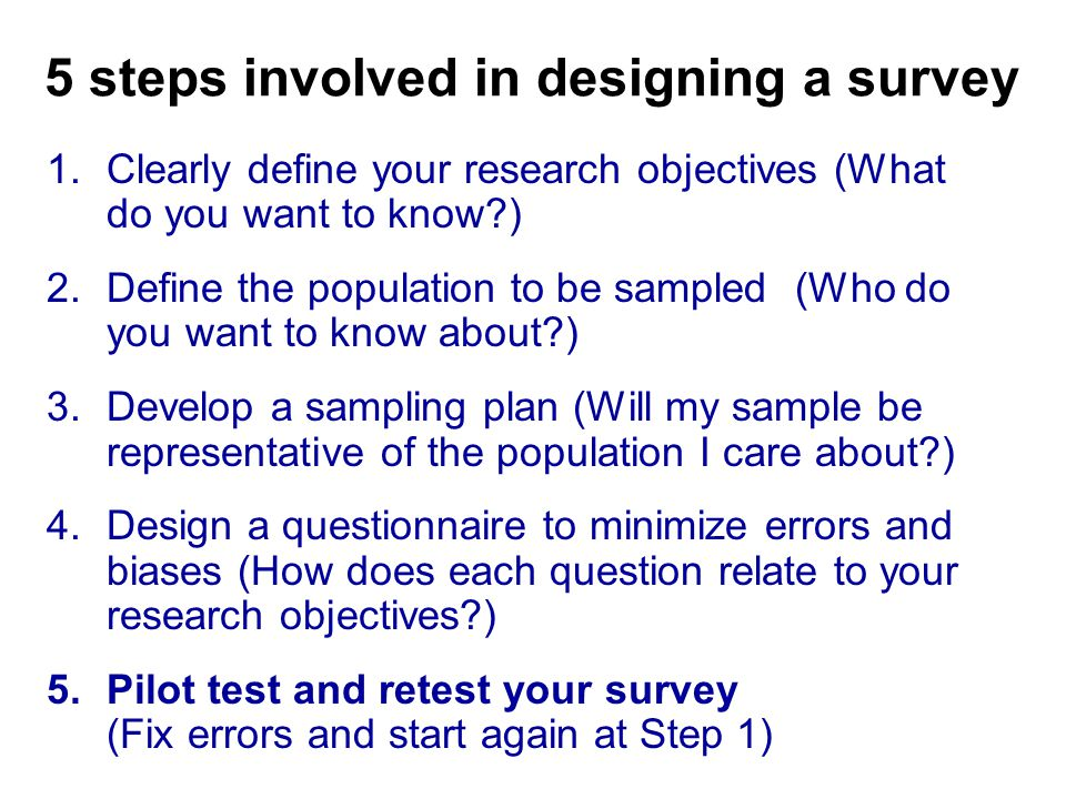 5 steps involved in designing a survey 1.Clearly define your research objectives (What do you want to know?) 2.Define the population to be sampled (Who do you want to know about?) 3.Develop a sampling plan (Will my sample be representative of the population I care about?) 4.Design a questionnaire to minimize errors and biases (How does each question relate to your research objectives?) 5.Pilot test and retest your survey (Fix errors and start again at Step 1)