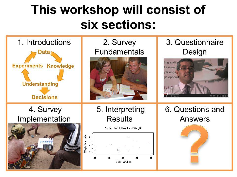 1. Introductions2. Survey Fundamentals 3. Questionnaire Design 4.