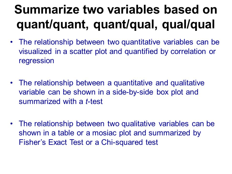 Summarize two variables based on quant/quant, quant/qual, qual/qual The relationship between two quantitative variables can be visualized in a scatter plot and quantified by correlation or regression The relationship between a quantitative and qualitative variable can be shown in a side-by-side box plot and summarized with a t-test The relationship between two qualitative variables can be shown in a table or a mosiac plot and summarized by Fisher's Exact Test or a Chi-squared test