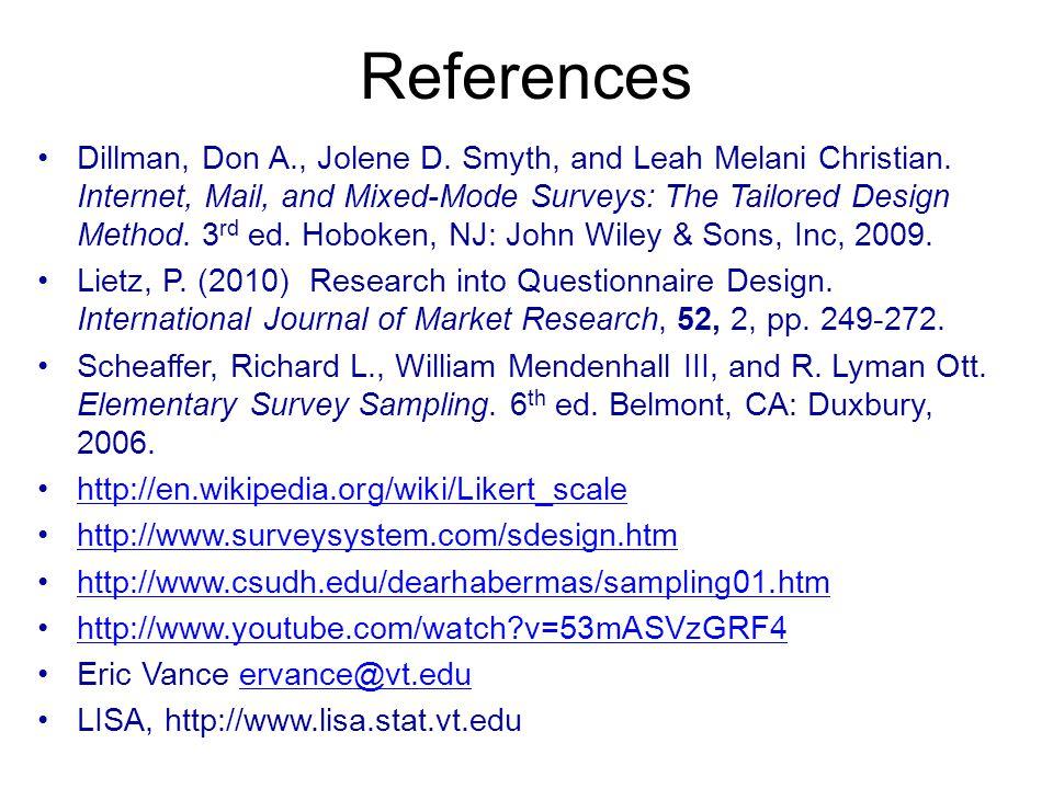 References Dillman, Don A., Jolene D. Smyth, and Leah Melani Christian.