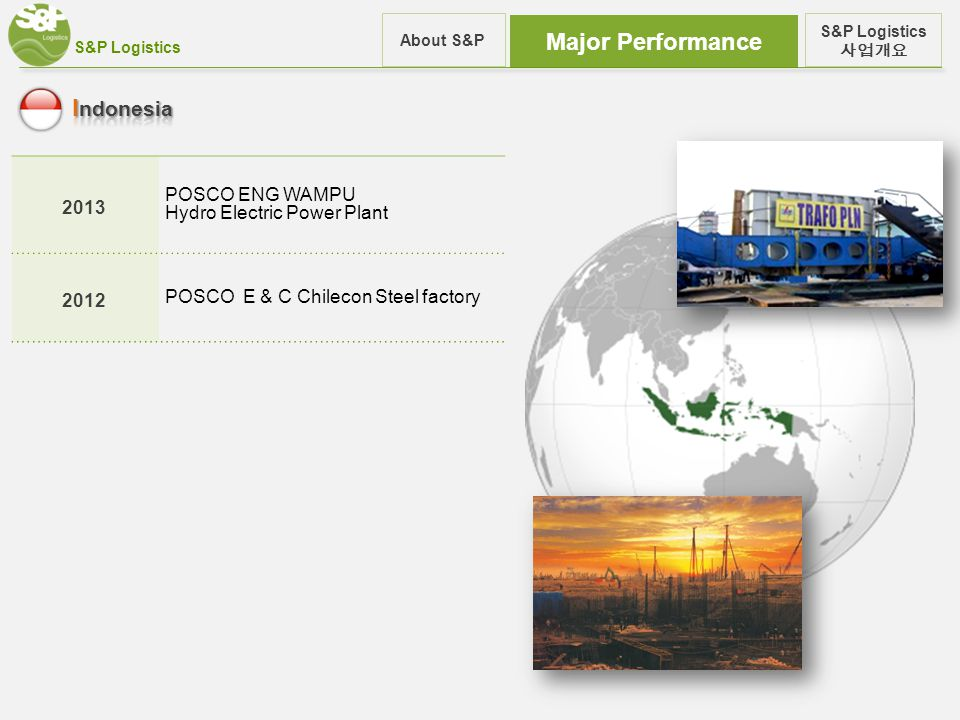 S&P Logistics Major Performance S&P Logistics 사업개요 About S&P 2013 POSCO ENG WAMPU Hydro Electric Power Plant 2012 POSCO E & C Chilecon Steel factory
