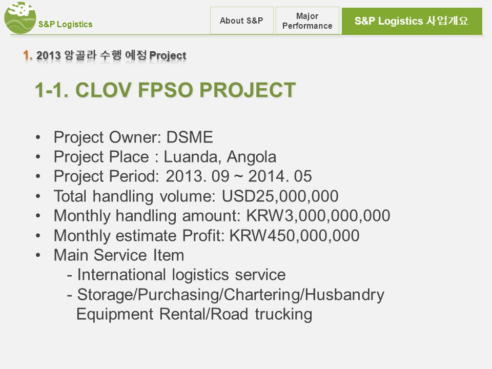 S&P Logistics 사업개요 About S&P Major Performance 1-1. CLOV FPSO PROJECT Project Owner: DSME Project Place : Luanda, Angola Project Period: 2013. 09 ~ 20