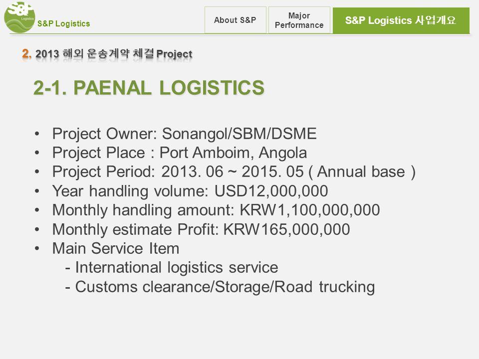 S&P Logistics S&P Logistics 사업개요 About S&P Major Performance 2-1.