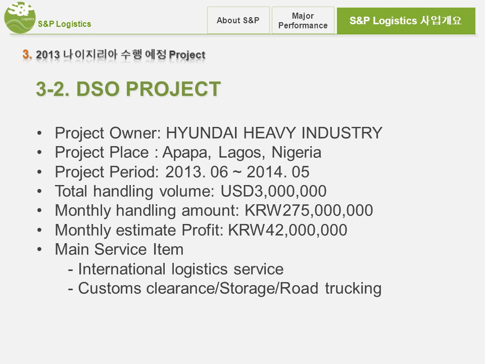 S&P Logistics S&P Logistics 사업개요 About S&P Major Performance 3-2. DSO PROJECT Project Owner: HYUNDAI HEAVY INDUSTRY Project Place : Apapa, Lagos, Nige