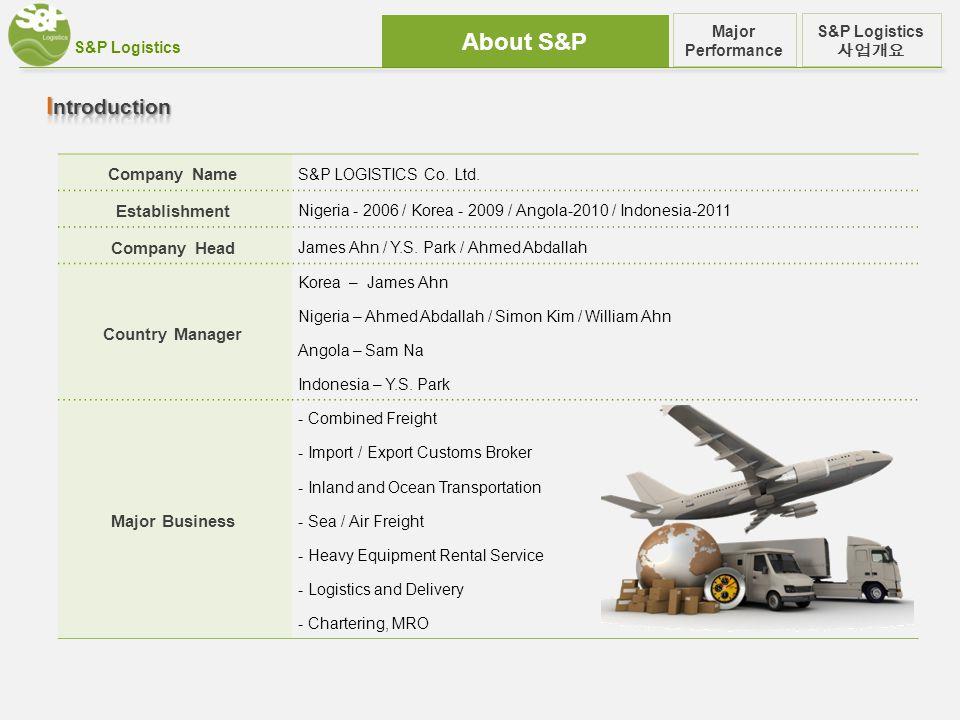 S&P Logistics About S&P S&P Logistics 사업개요 Major Performance Company Name S&P LOGISTICS Co.