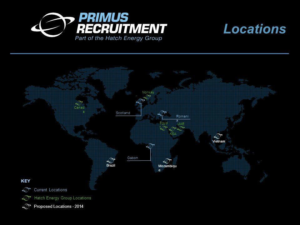 Current Locations Proposed Locations - 2014 KEY Scotland Canad a Egyp t UAE KSA Gabon Brazil Mozambiqu e Vietnam Romani a Norway Hatch Energy Group Locations Locations