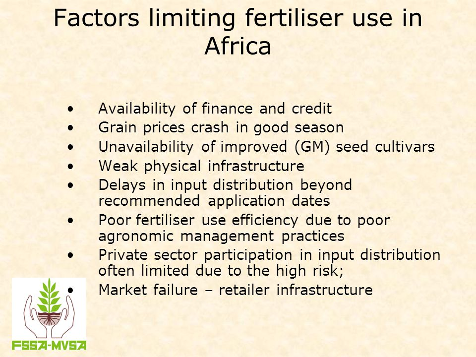 Factors limiting fertiliser use in Africa Availability of finance and credit Grain prices crash in good season Unavailability of improved (GM) seed cu