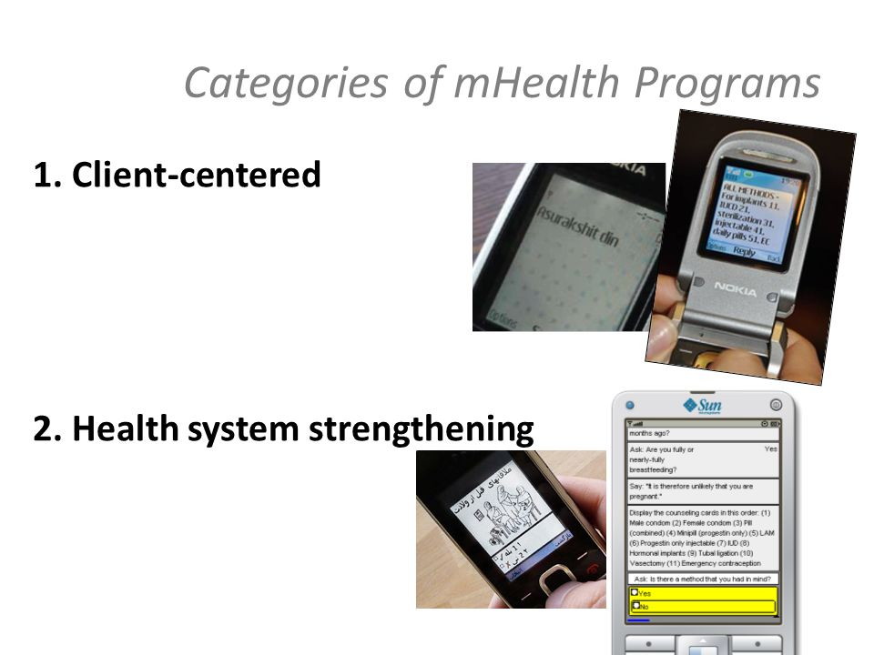 Categories of mHealth Programs 1. Client-centered 2. Health system strengthening