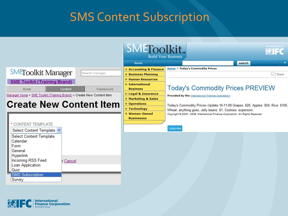 SMS Content Subscription