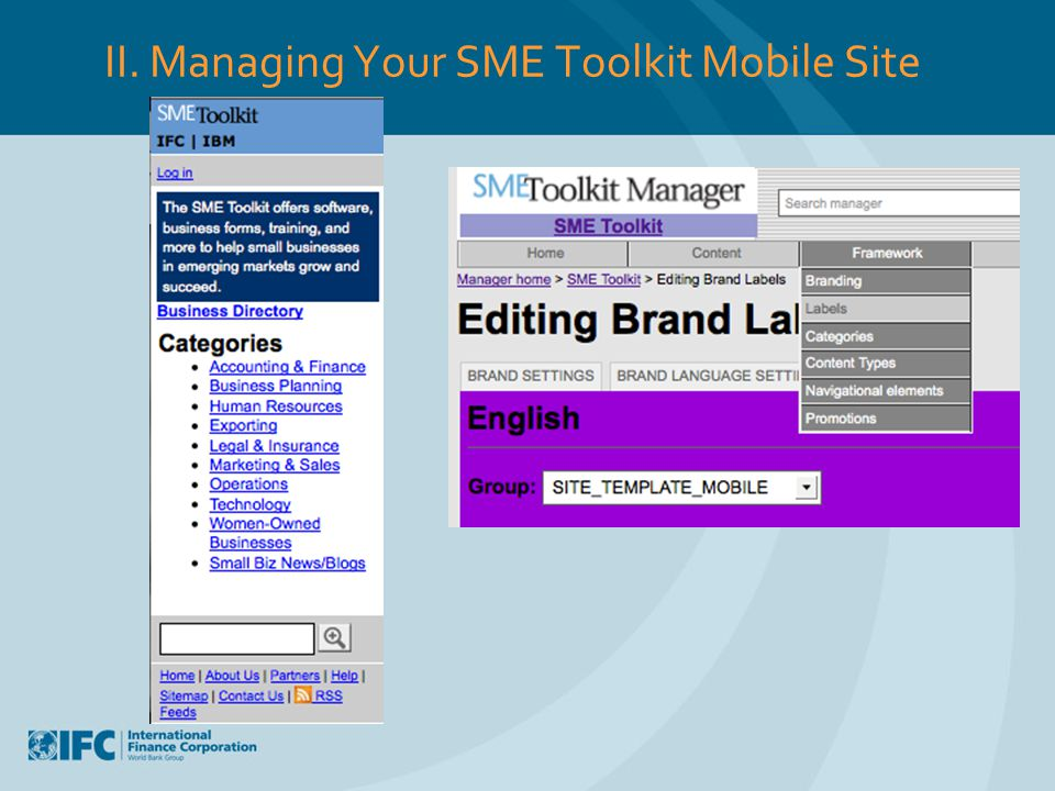 II. Managing Your SME Toolkit Mobile Site