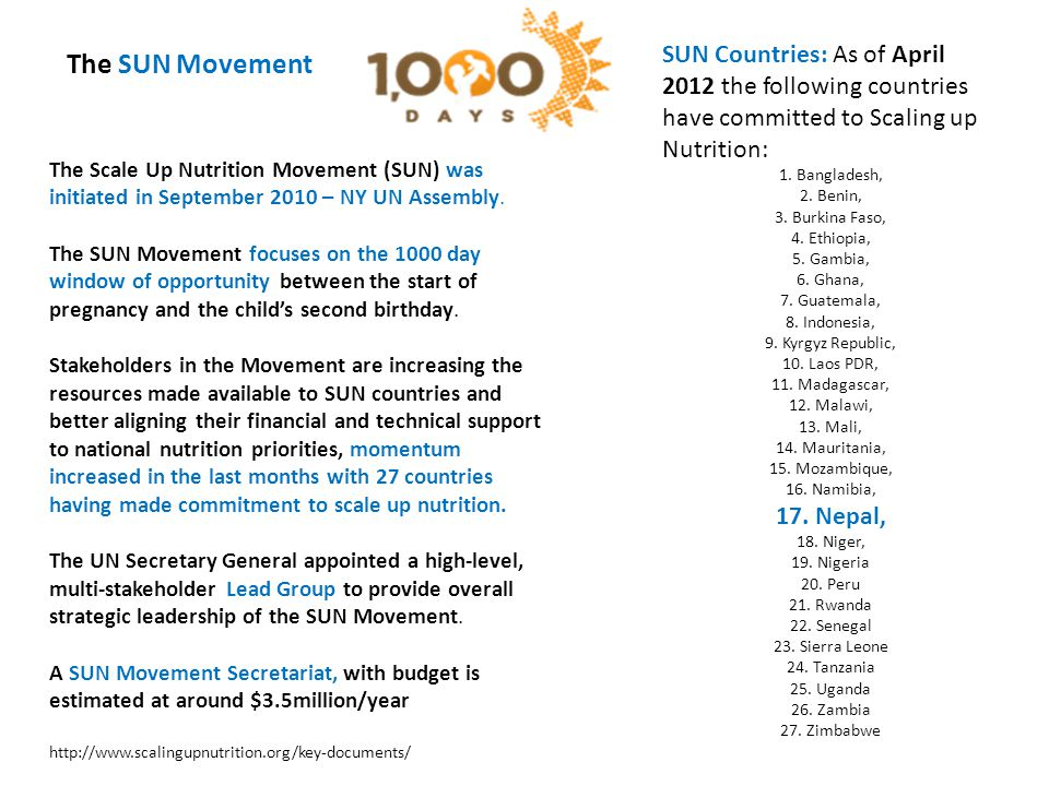 The SUN Movement SUN Countries: As of April 2012 the following countries have committed to Scaling up Nutrition: 1.