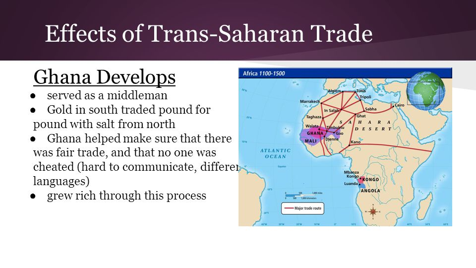 Effects of Trans-Saharan Trade Ghana Develops ● served as a middleman ● Gold in south traded pound for pound with salt from north ● Ghana helped make