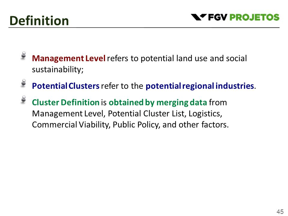 45 Management Level refers to potential land use and social sustainability; Potential Clusters refer to the potential regional industries.