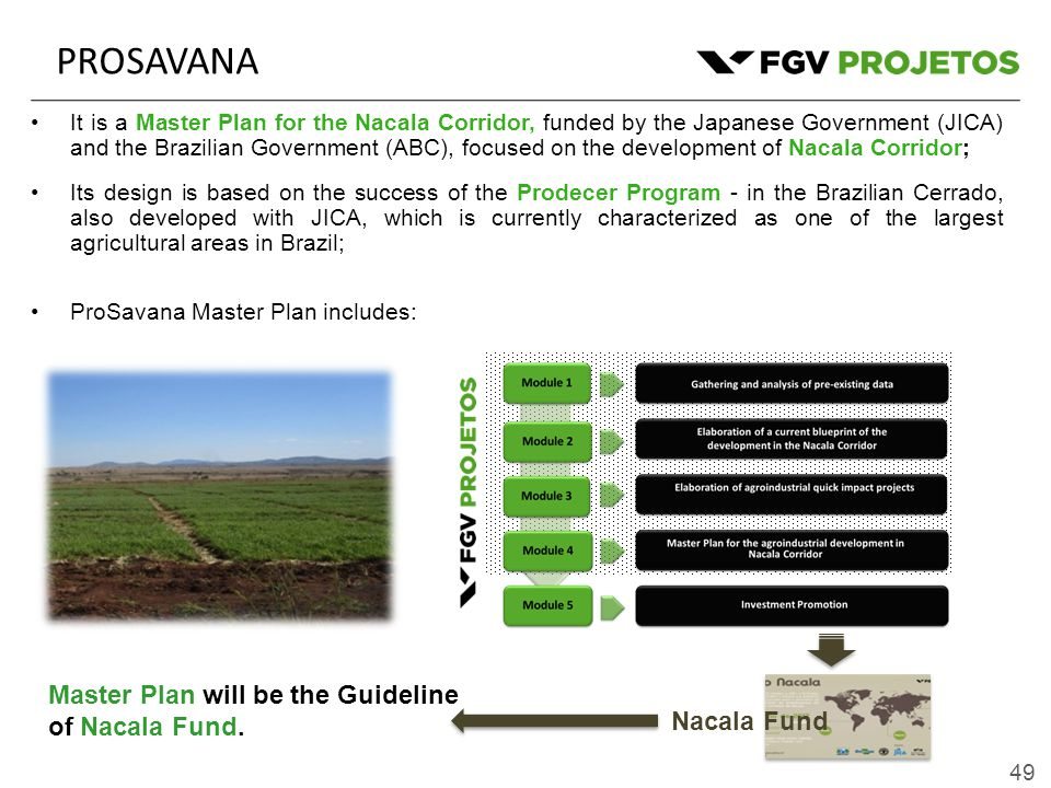 49 PROSAVANA It is a Master Plan for the Nacala Corridor, funded by the Japanese Government (JICA) and the Brazilian Government (ABC), focused on the development of Nacala Corridor; Its design is based on the success of the Prodecer Program - in the Brazilian Cerrado, also developed with JICA, which is currently characterized as one of the largest agricultural areas in Brazil; ProSavana Master Plan includes: Nacala Fund Master Plan will be the Guideline of Nacala Fund.