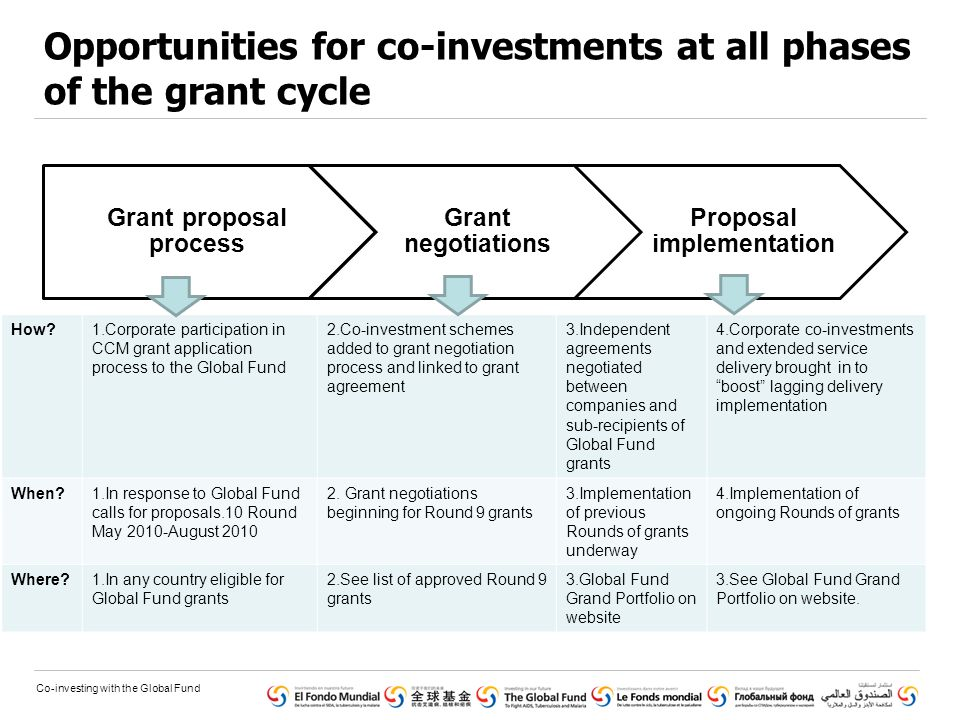 Co-investing with the Global Fund Opportunities for co-investments at all phases of the grant cycle Grant proposal process Grant negotiations Proposal implementation How?1.Corporate participation in CCM grant application process to the Global Fund 2.Co-investment schemes added to grant negotiation process and linked to grant agreement 3.Independent agreements negotiated between companies and sub-recipients of Global Fund grants 4.Corporate co-investments and extended service delivery brought in to boost lagging delivery implementation When?1.In response to Global Fund calls for proposals.10 Round May 2010-August 2010 2.
