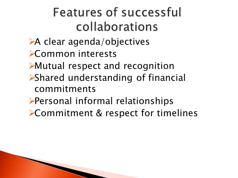  A clear agenda/objectives  Common interests  Mutual respect and recognition  Shared understanding of financial commitments  Personal informal relationships  Commitment & respect for timelines