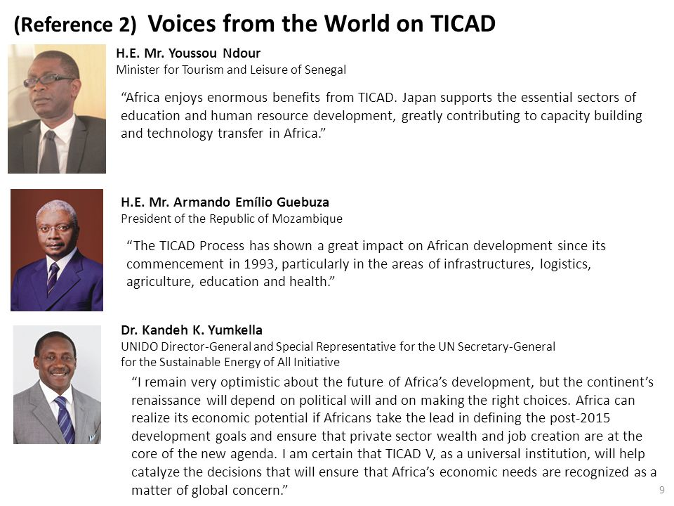 (Reference 2) Voices from the World on TICAD H.E. Mr.