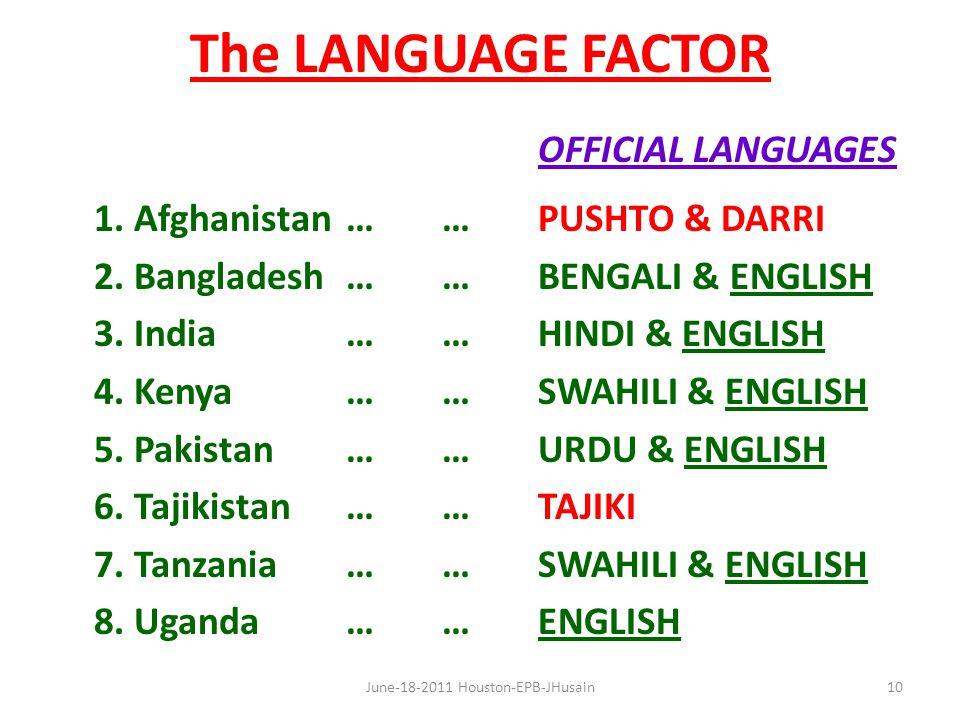 The LANGUAGE FACTOR OFFICIAL LANGUAGES 1. Afghanistan……PUSHTO & DARRI 2.