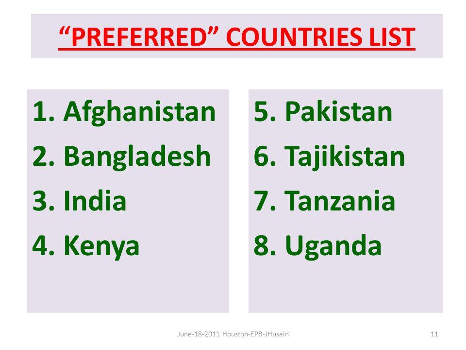 PREFERRED COUNTRIES LIST 1. Afghanistan 2. Bangladesh 3.