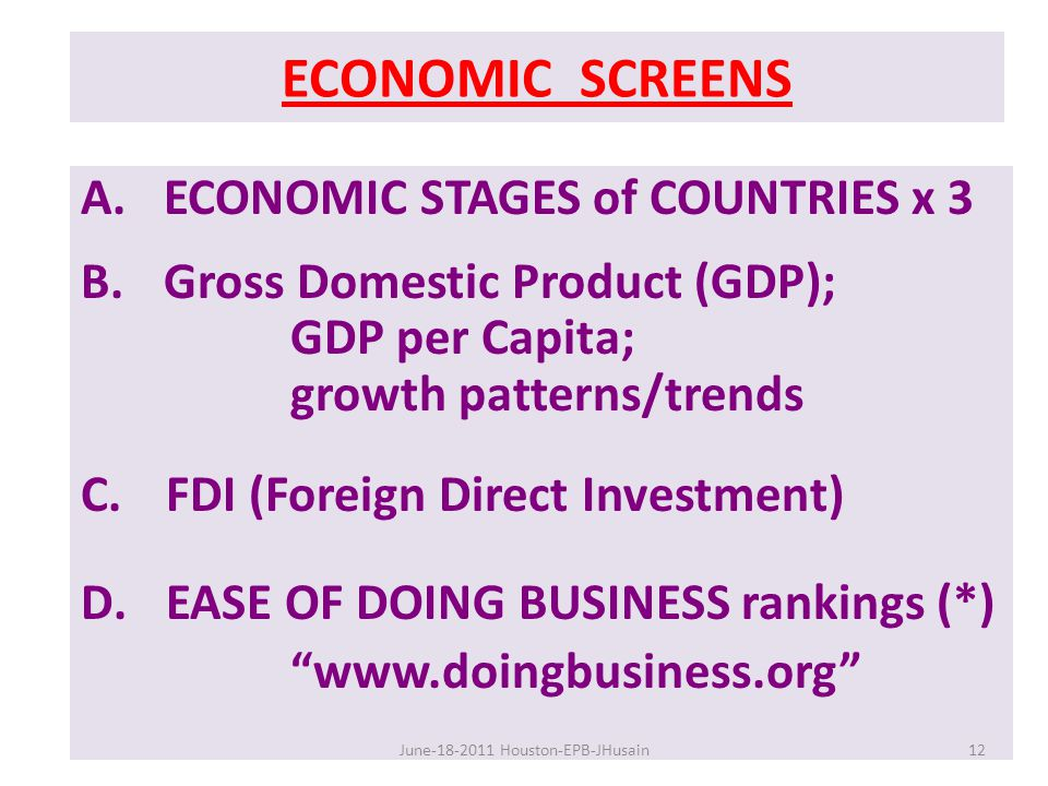 ECONOMIC SCREENS A. ECONOMIC STAGES of COUNTRIES x 3 B.