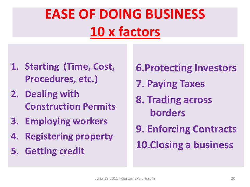 EASE OF DOING BUSINESS 10 x factors 1.Starting (Time, Cost, Procedures, etc.) 2.Dealing with Construction Permits 3.Employing workers 4.Registering property 5.Getting credit 6.Protecting Investors 7.