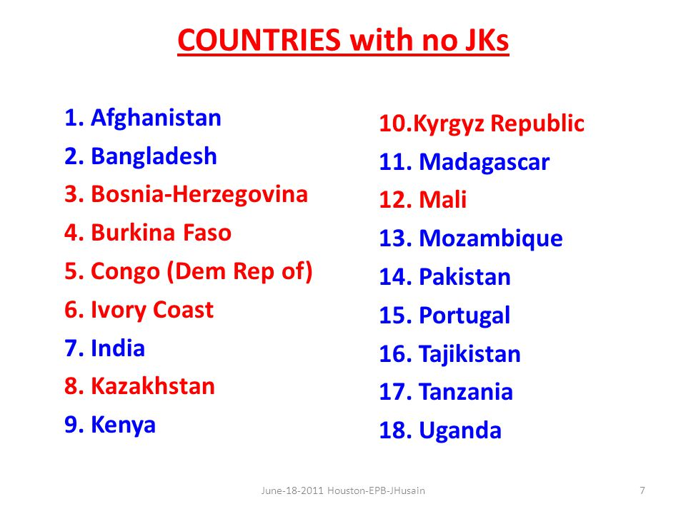 COUNTRIES with no JKs 1. Afghanistan 2. Bangladesh 3.