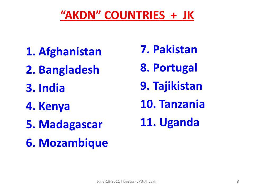 AKDN COUNTRIES + JK 1. Afghanistan 2. Bangladesh 3.