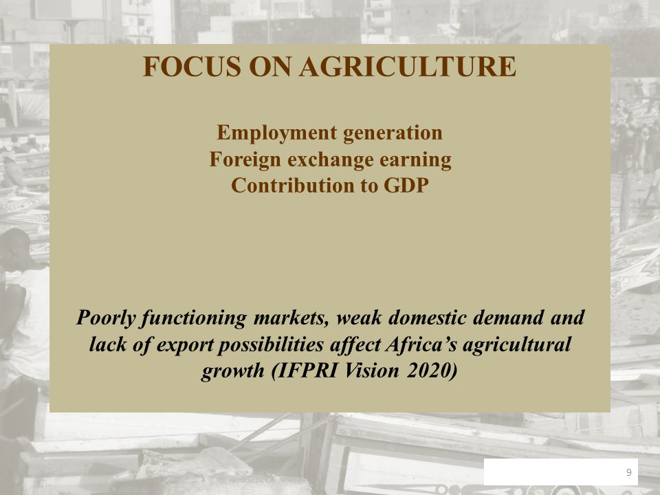 FOCUS ON AGRICULTURE Employment generation Foreign exchange earning Contribution to GDP Poorly functioning markets, weak domestic demand and lack of e