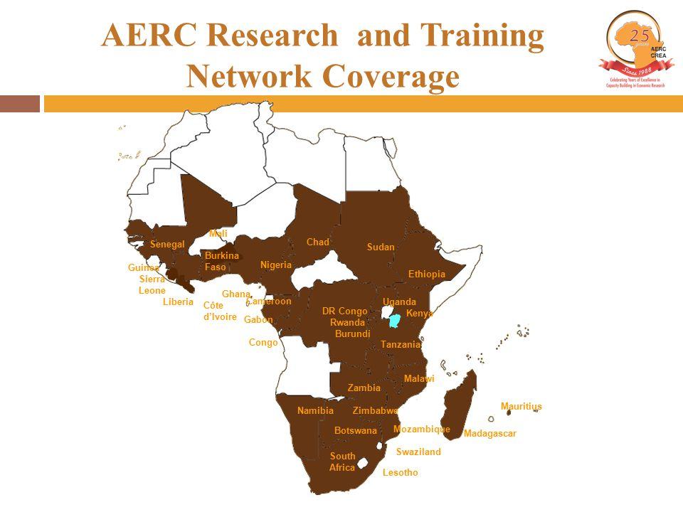 AERC Research and Training Network Coverage Uganda Kenya Ethiopia Tanzania Zambia Namibia South Africa Botswana Zimbabwe Mozambique Swaziland Lesotho Malawi Nigeria Cameroon Ghana Côte d'Ivoire Guinea Sierra Leone Mauritius Liberia Sudan Chad DR Congo Rwanda Burundi Gabon Congo Madagascar Mali Senegal Burkina Faso