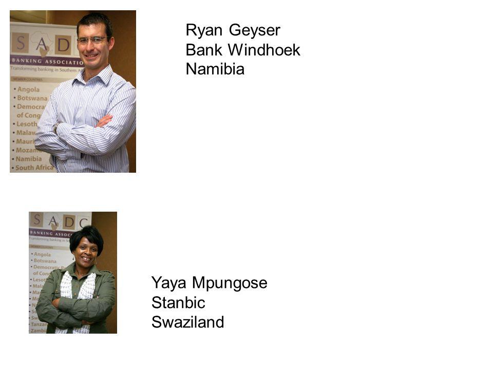 Ryan Geyser Bank Windhoek Namibia Yaya Mpungose Stanbic Swaziland