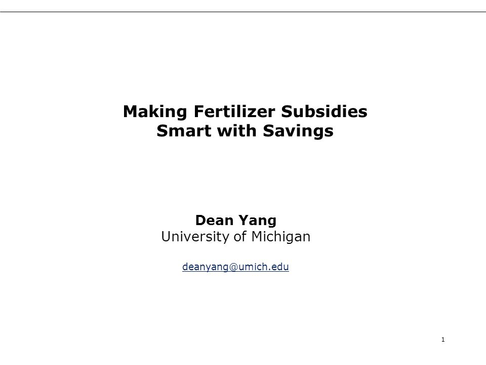 In sum In fertilizer subsidy experiment: –Positive impacts of subsidy on fertilizer use –But initial analysis provides no evidence of corresponding increases in maize yields In savings experiment: –No impact of basic savings –Large impact of savings match No interaction effects between subsidies and savings 32