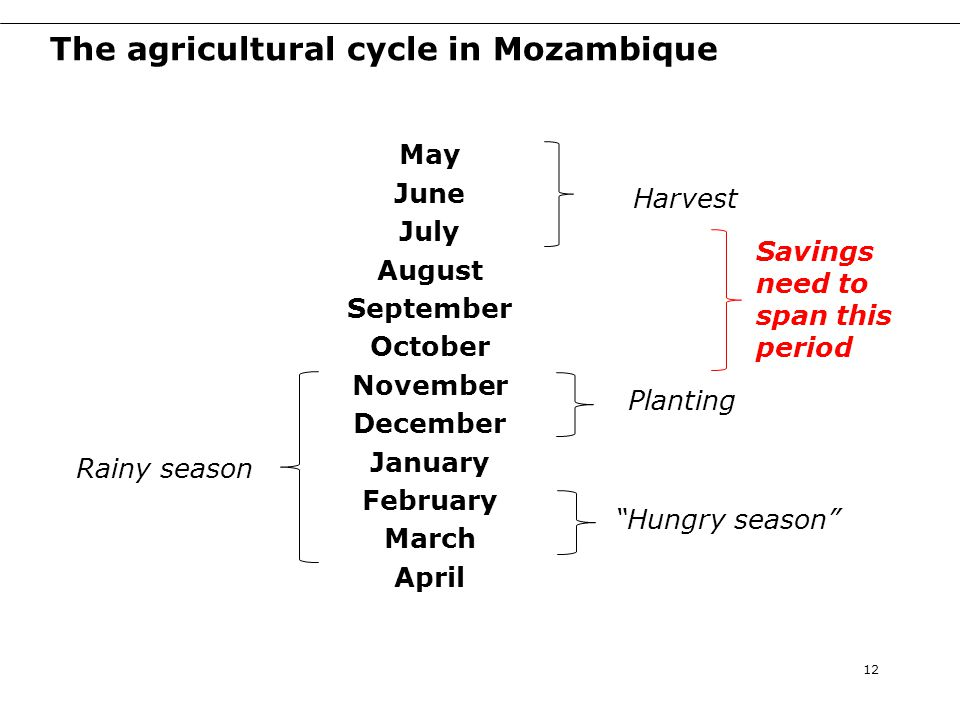 The agricultural cycle in Mozambique May June July August September October November December January February March April 12 Harvest Rainy season Planting Savings need to span this period Hungry season