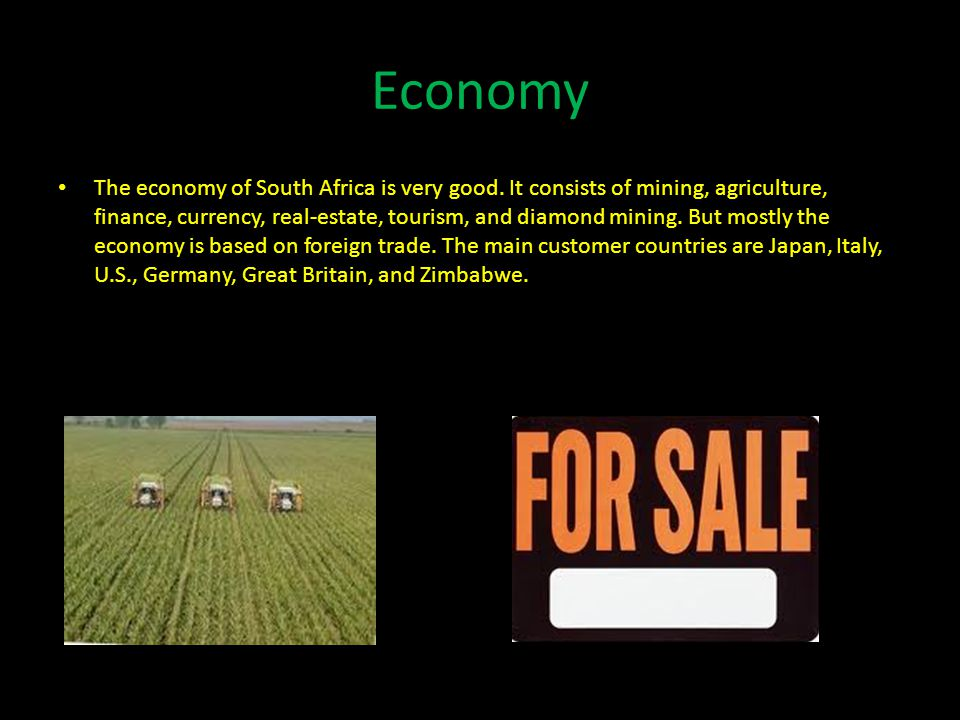 Economy The economy of South Africa is very good.