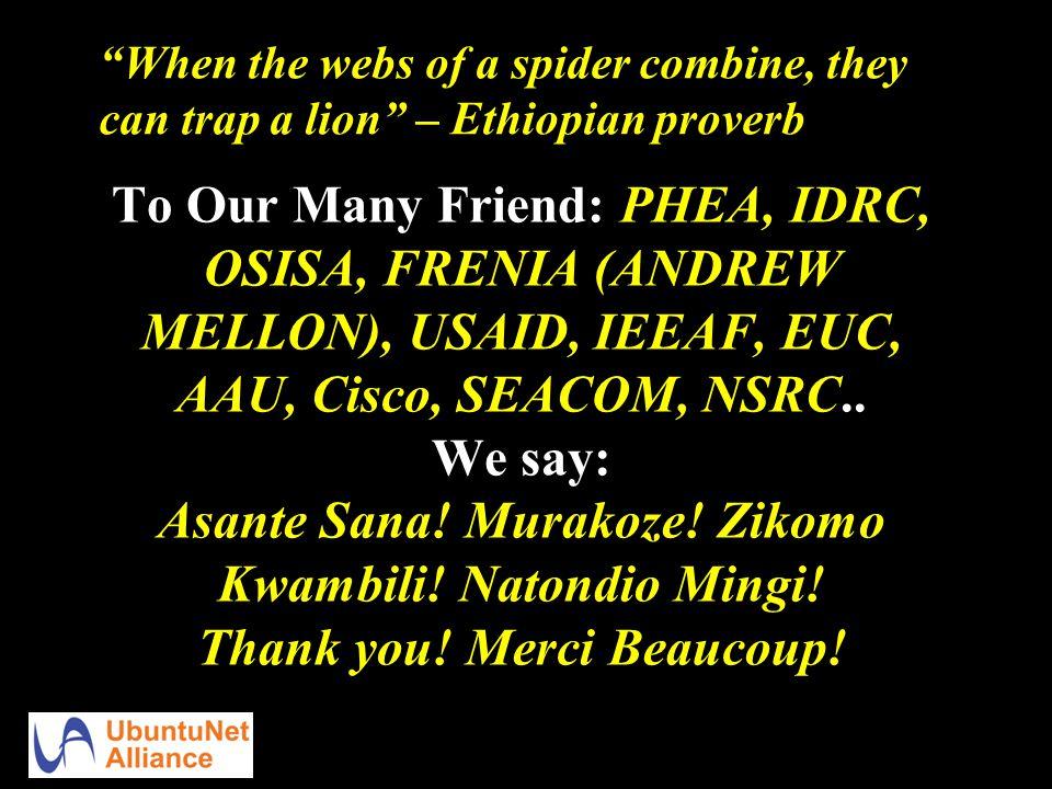 To Our Many Friend: PHEA, IDRC, OSISA, FRENIA (ANDREW MELLON), USAID, IEEAF, EUC, AAU, Cisco, SEACOM, NSRC..
