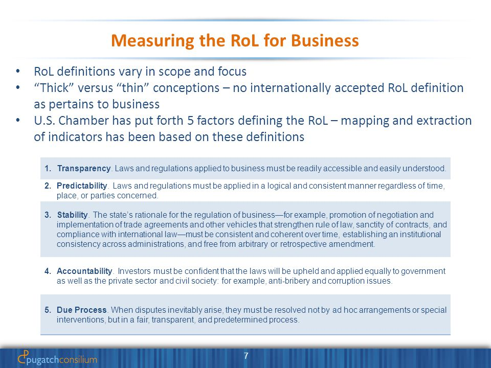 7 Measuring the RoL for Business RoL definitions vary in scope and focus Thick versus thin conceptions – no internationally accepted RoL definition as pertains to business U.S.