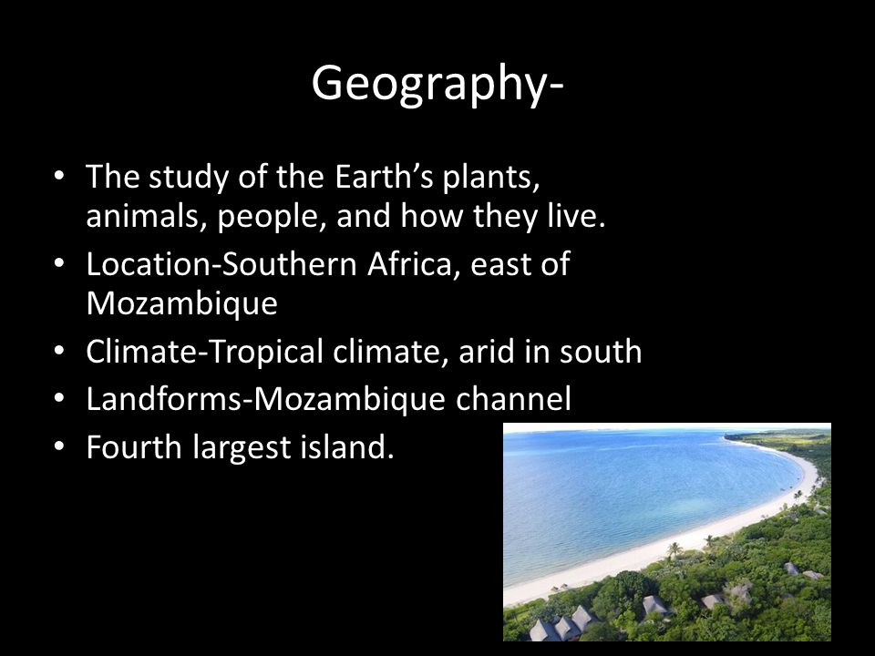 Geography- The study of the Earth's plants, animals, people, and how they live.