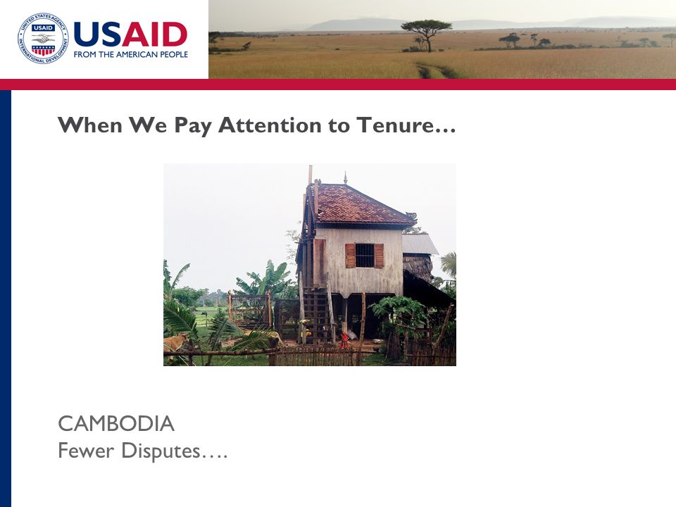 When We Pay Attention to Tenure… CAMBODIA Fewer Disputes….