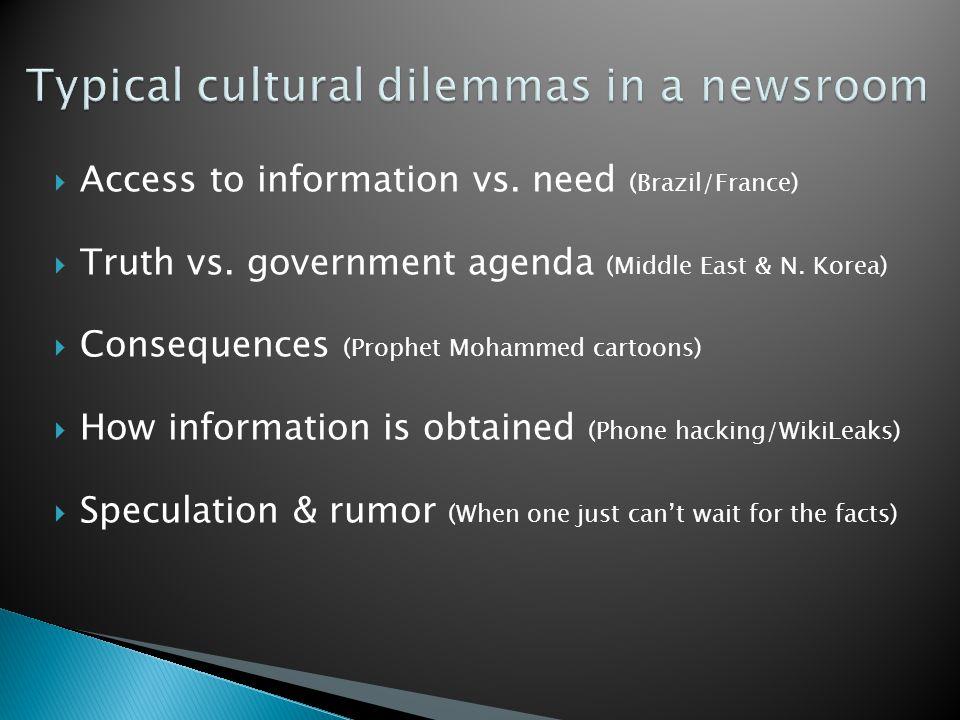  Access to information vs. need (Brazil/France)  Truth vs.